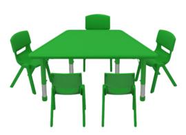 Kinderopvang tafels kunststof (in 3 vormen en 4 kleuren)
