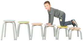 SALE! Schoolmeubilair/meubels: Krukken hout/metaal (groen, maat 5)