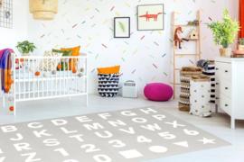 Speelmat alfabet/cijfers/figuren Grijs-Wit 3,6 m² / 40 tegels (30 x 30 x 1,2 cm)