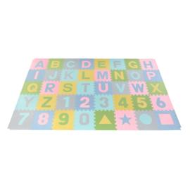 Speelmat alfabet/cijfers/figuren Pastel 3,6 m² / 40 tegels (30 x 30 x 1,2 cm)