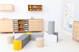 Foam Blokken Set van 10 zachte speelelementen (zwart, wit, grijs, geel)