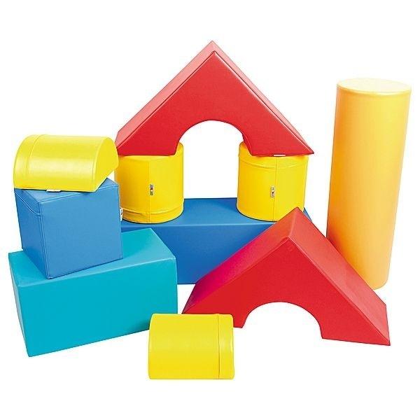 Foam Blokken Set van 10 zachte speelelementen (rood, geel, blauw, oranje, paars)
