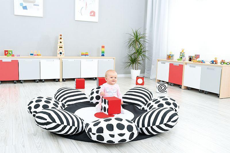Speelmat/speelkleed Bloem (zwart-wit) 150 cm