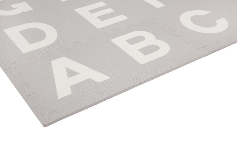 Terrastegels 30 X 40.Speelmat Alfabet Cijfers Figuren Grijs Wit 3 6 M 40