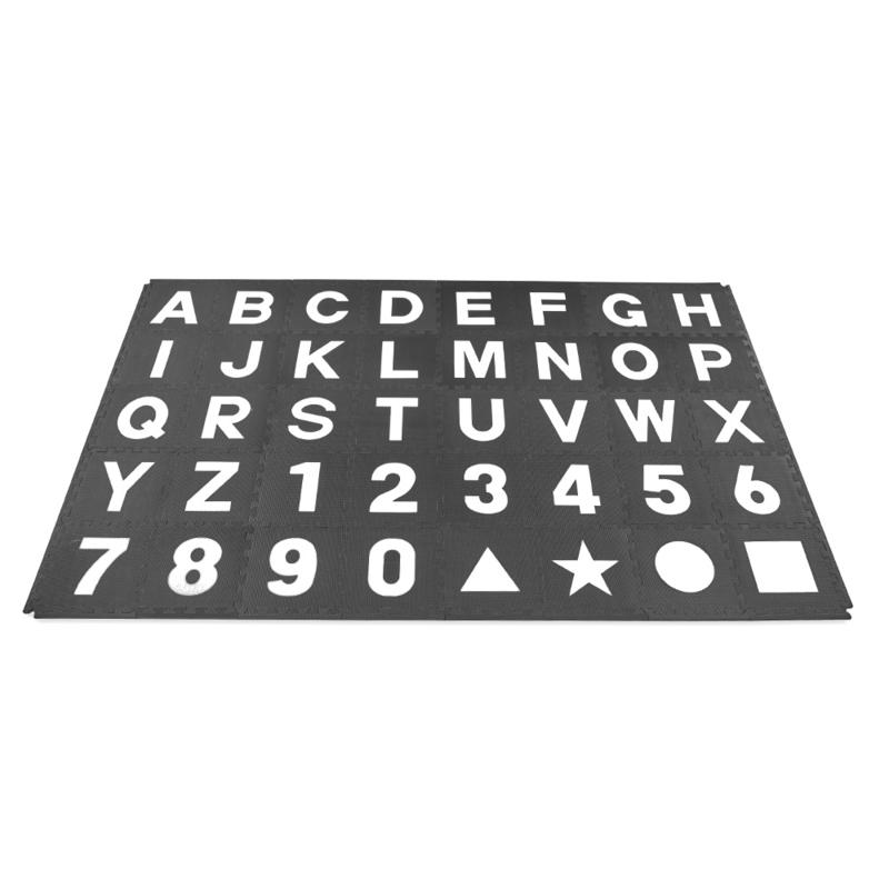 Speelmat alfabet/cijfers/figuren Zwart-Wit 3,6 m² / 40 tegels (30 x 30 x 1,2 cm)