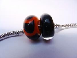 Set van 2 stuks grootgatkralen, effen zwart en oranje met zwart