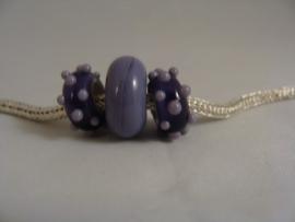 Set van 3 stuks lila met paarse grootgatkralen