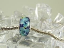 Bloemenkraal in blauwtinten, met 925 zilveren kern (2)