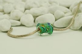 Rechthoekige grootgatkraal XL in groen, blauw en geeltinten