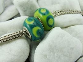 Set van 2 stuks grootgatkralen, 2 kleuren groen, met 925 zilveren kernen