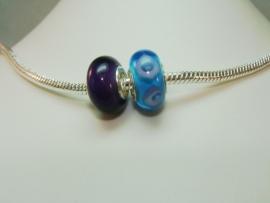 Set van 2 stuks grootgatkralen lichtturqoise/lila en paars