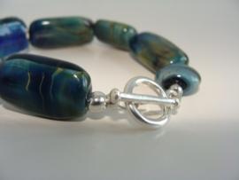 Prachtige armband van zilverglaskralen