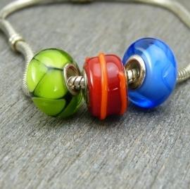 Set van 3 stuks grootgatkralen, groen, rood, blauw, met 925 zilveren kernen