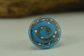 Zilverkleurige verstelbare ring met turqoise ringtop