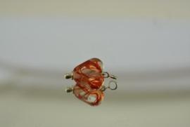 Zilverkleurige wisselhanger met hartje in blank en oranje/rood