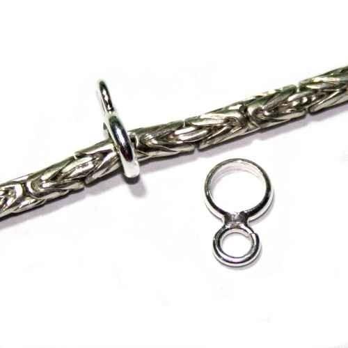 Smalle zilveren kraal met bevestigingsoogje voor bedel, BD5017