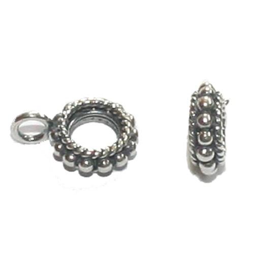 Ronde zilveren kraal met bevestigingsoogje voor bedel, CH5040