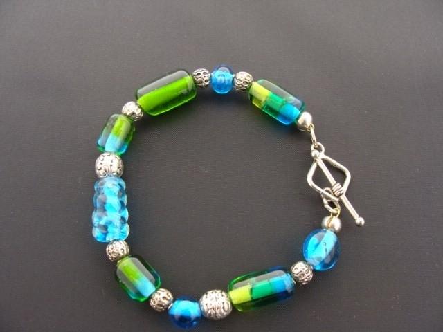Blauw groen armbandje