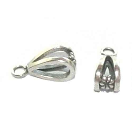Ovale zilveren grootgatkraal met oogje, kleine bloemmotief, CH5050