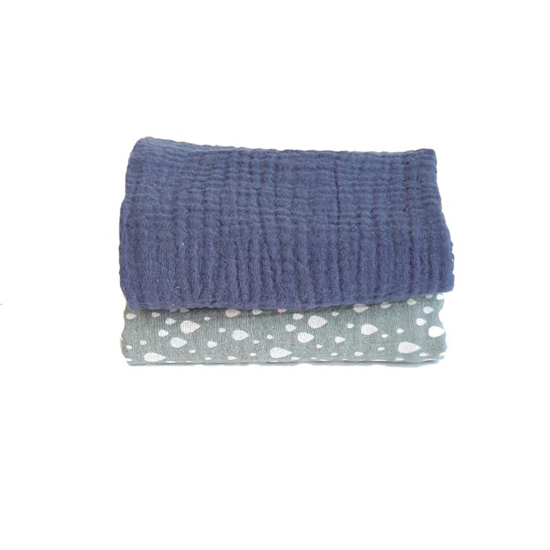 Spuugdoekje jeansblauw / vintage groen met druppel