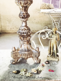 Antique italian silver church/chateau candle stick XL size