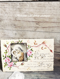 Old french prayer image in parchment paper