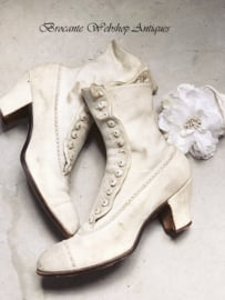 French victorian leather button boots