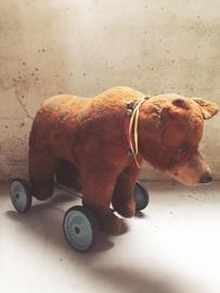 Antieke beer op wielen