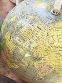 Mini globe/wereldbol vintage