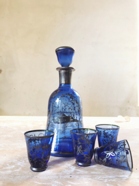 French blue glass carafe with glasses