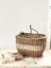 Old french rattan basket