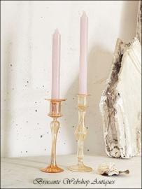 2 mouth blown orange candel sticks