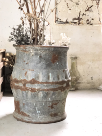 Old french iron wine barrel