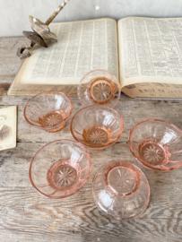 Rose glazen kleine schaaltjes