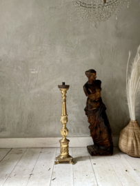 Antique high french bois dore candle stick