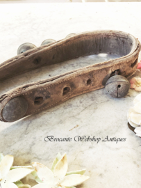 Old french leather belt with bells