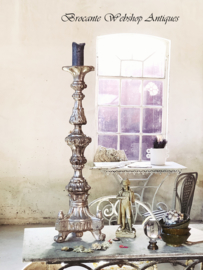 Antique italian silver church/chateau candle stick XL size