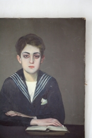 Antiek frans portrait/ portret XL
