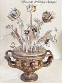 Unique antique vase with flowers