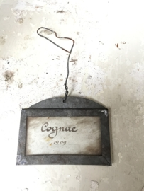 Antiek frans zinken label/ Antique french sinc label