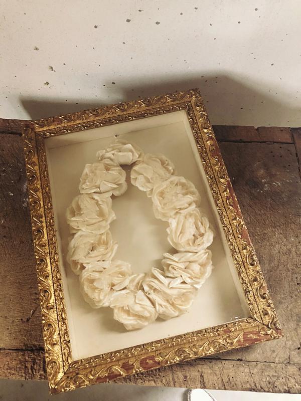 Framed flower wreath