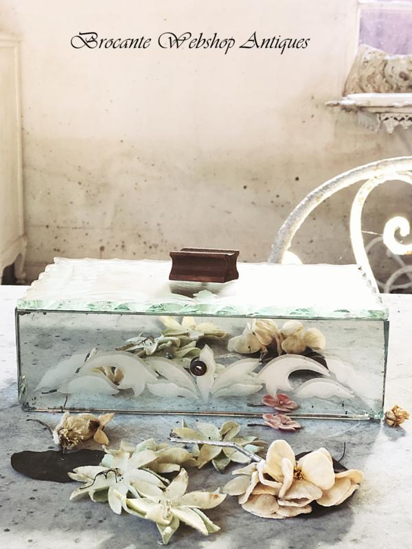 Oud frans spiegelkistje/ glas kistje