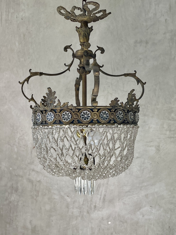 Unieke kroonluchter brons  - Sac à perles -