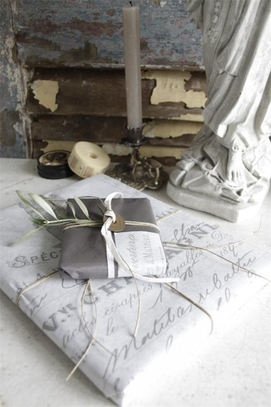 Gift wrapping paper - Grey French Receipt - (5 meter)