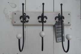 Landelijke stijl plankje met 3 haken franse lelie