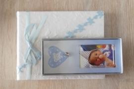 Kinderfotolijstje met hartje en belletje kleur blauw