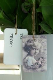 """Houten labeltje """"Nostalgic girl"""" van Clayre & Eef"""