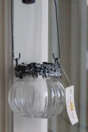 Waxinelichthoudertje hangend met vergrijsde bloementjesrand Clayre & Eef