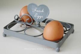 """Eier rekje """"Fresh eggs"""" grijs"""