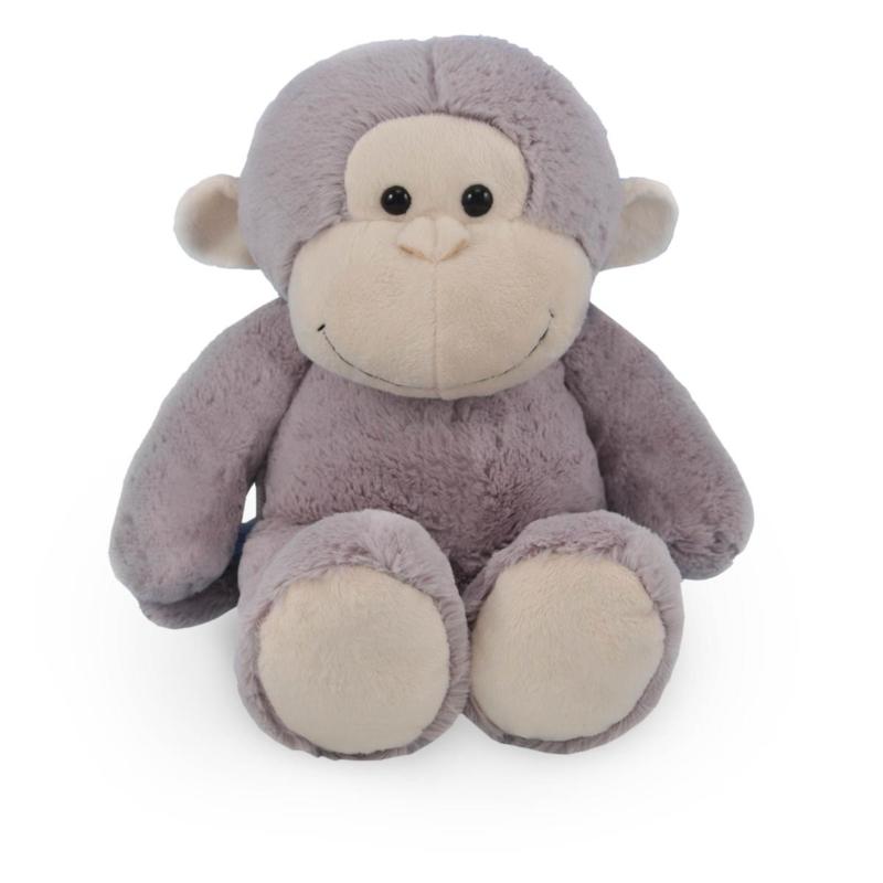 Knuffel aap  met naam en geboortedatum geborduurd op shirtje